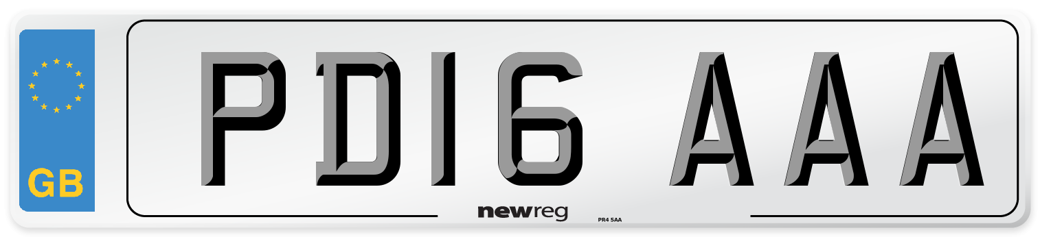 PD16 AAA Number Plate from New Reg