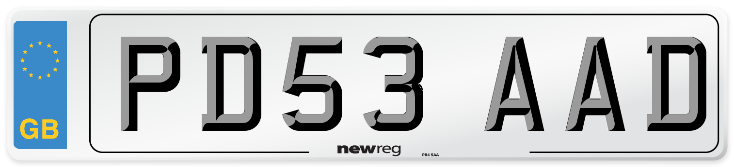 PD53 AAD Number Plate from New Reg