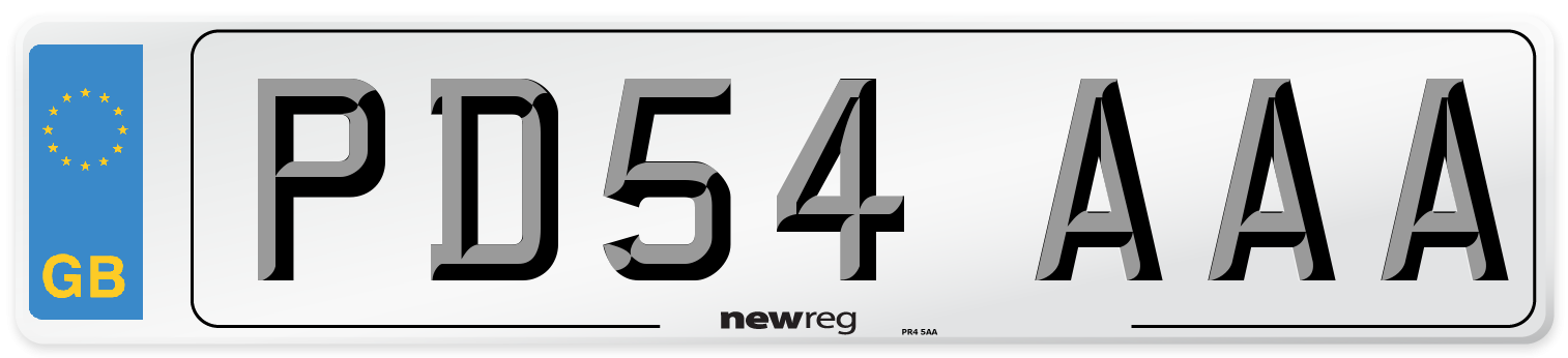 PD54 AAA Number Plate from New Reg