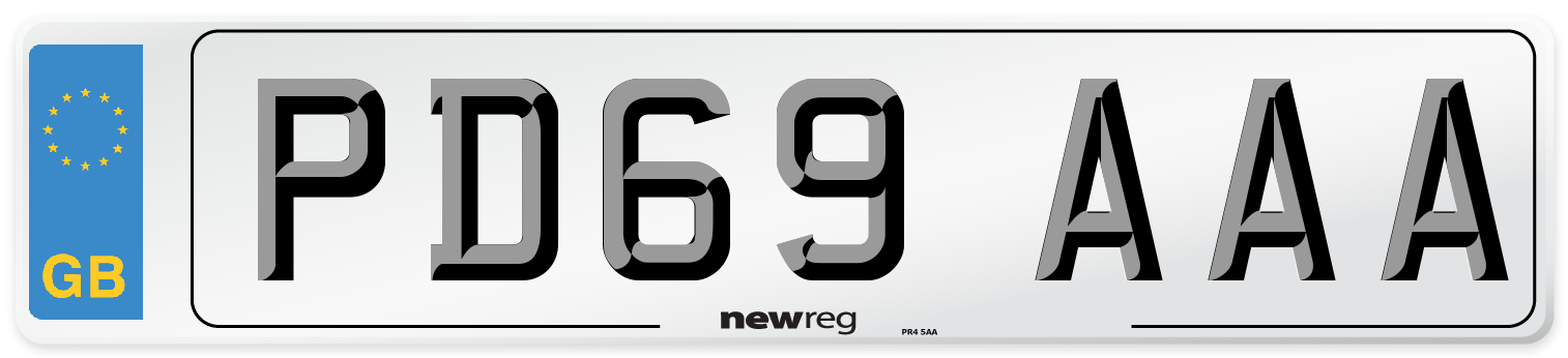 PD69 AAA Number Plate from New Reg