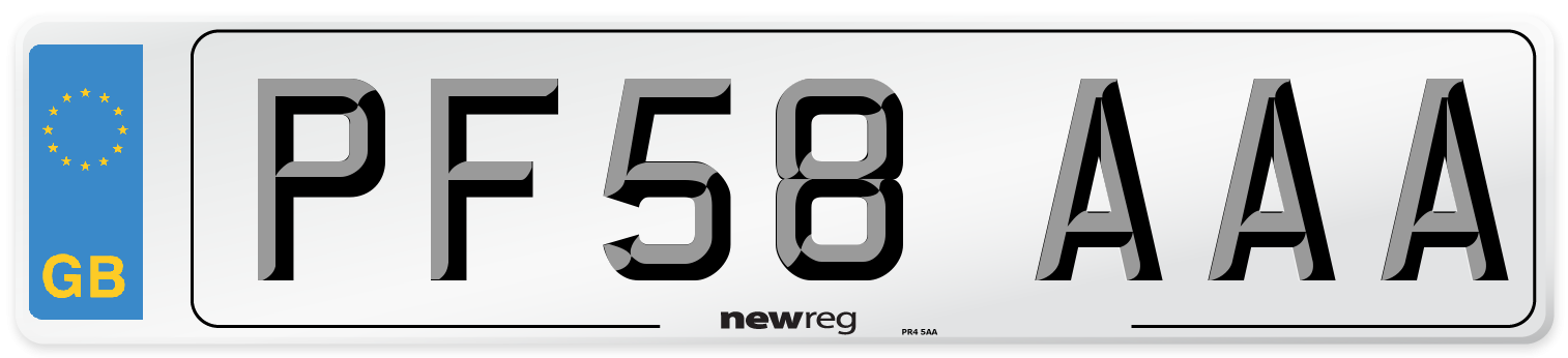 PF58 AAA Number Plate from New Reg