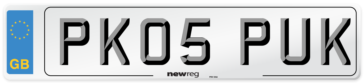 PK05 PUK Number Plate from New Reg