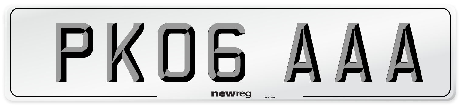 PK06 AAA Number Plate from New Reg