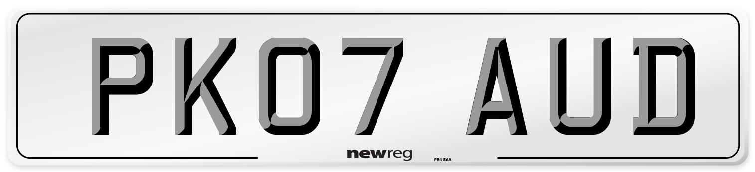 PK07 AUD Number Plate from New Reg