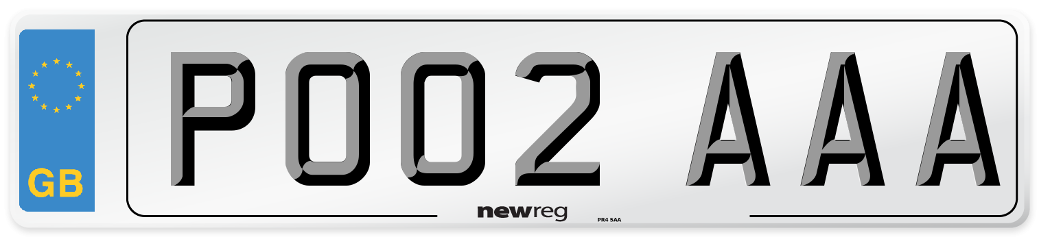 PO02 AAA Number Plate from New Reg