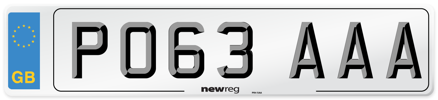 PO63 AAA Number Plate from New Reg