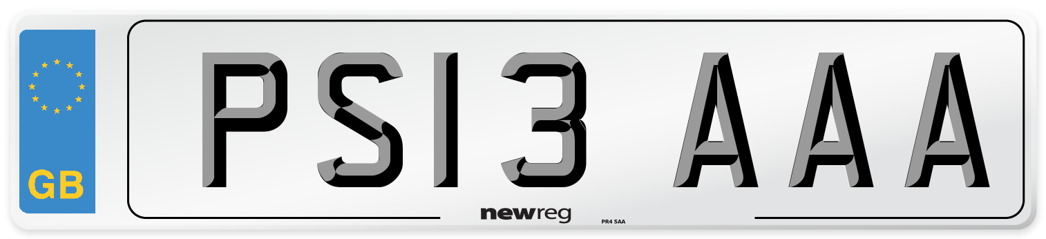 PS13 AAA Number Plate from New Reg