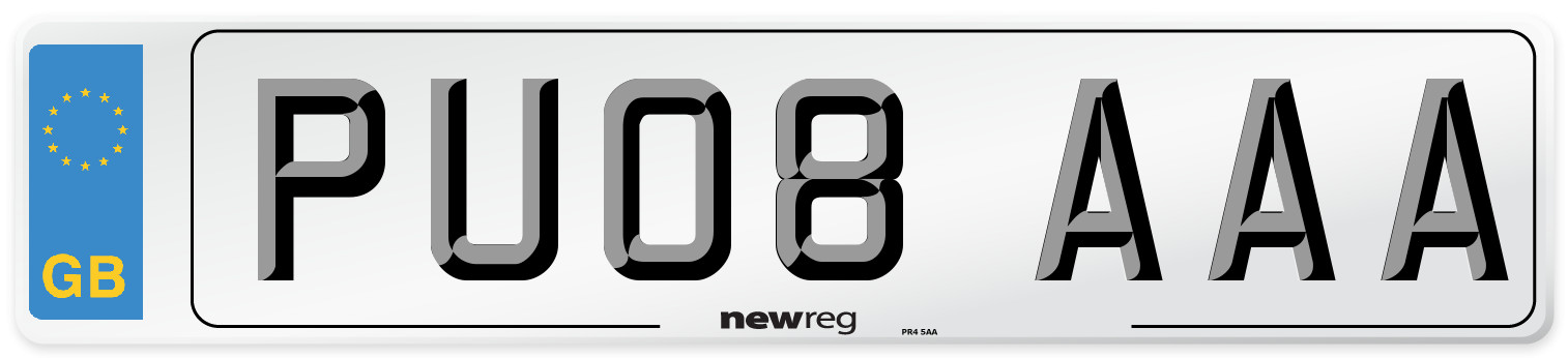 PU08 AAA Number Plate from New Reg