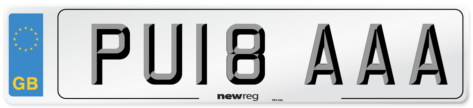 PU18 AAA Number Plate from New Reg