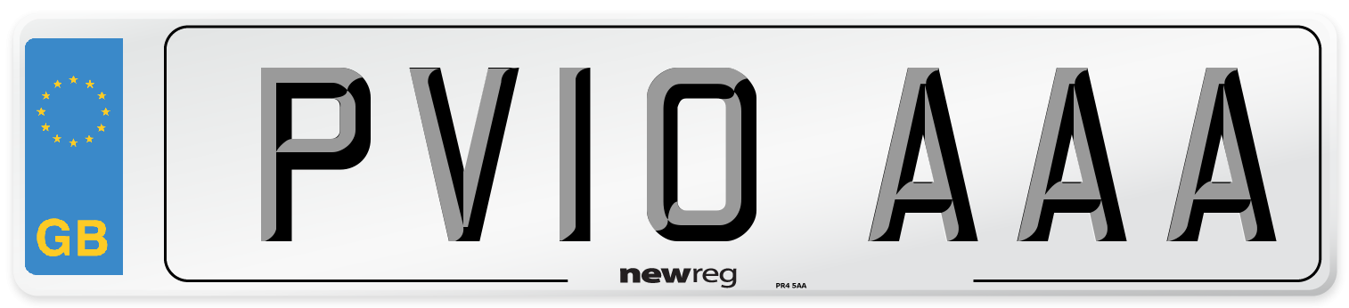 PV10 AAA Number Plate from New Reg