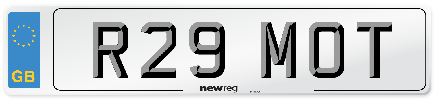 R29 MOT Number Plate from New Reg