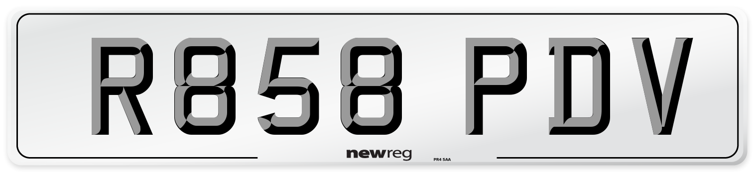 R858 PDV Number Plate from New Reg