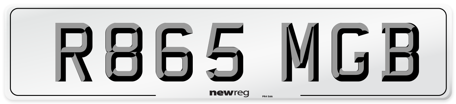R865 MGB Number Plate from New Reg