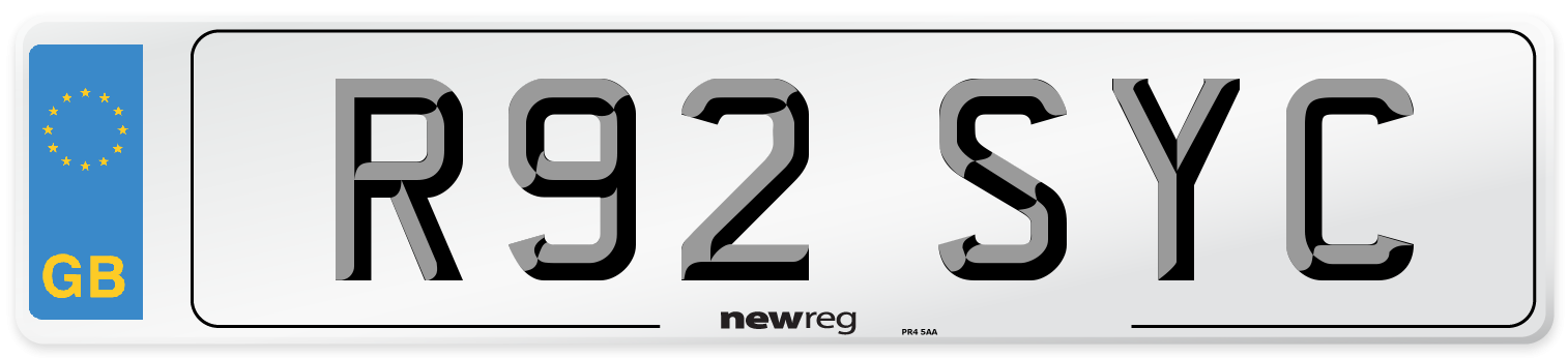 R92 SYC Number Plate from New Reg