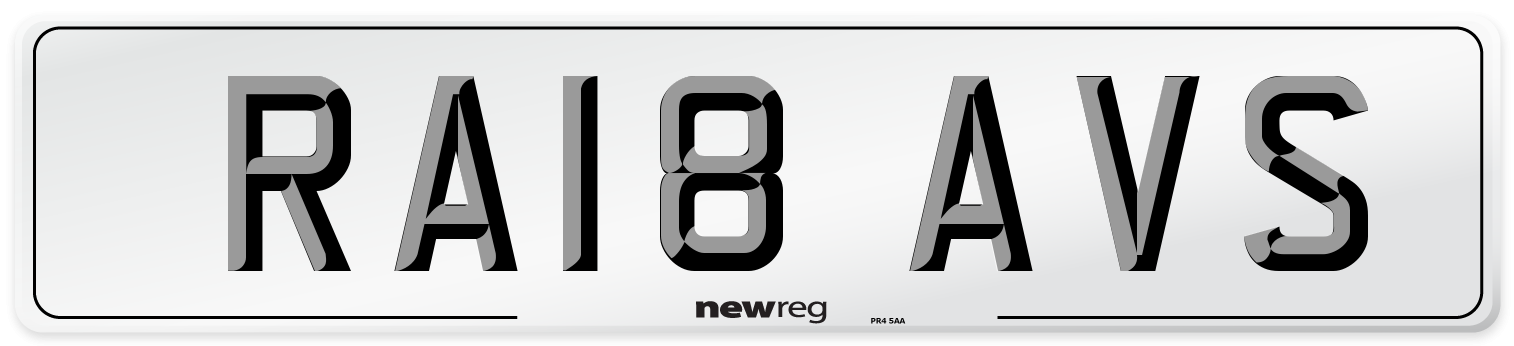 RA18 AVS Number Plate from New Reg