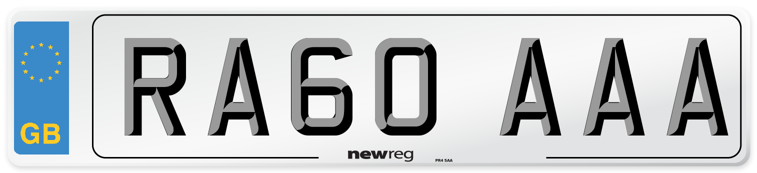 RA60 AAA Number Plate from New Reg