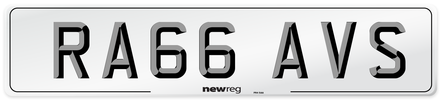 RA66 AVS Number Plate from New Reg