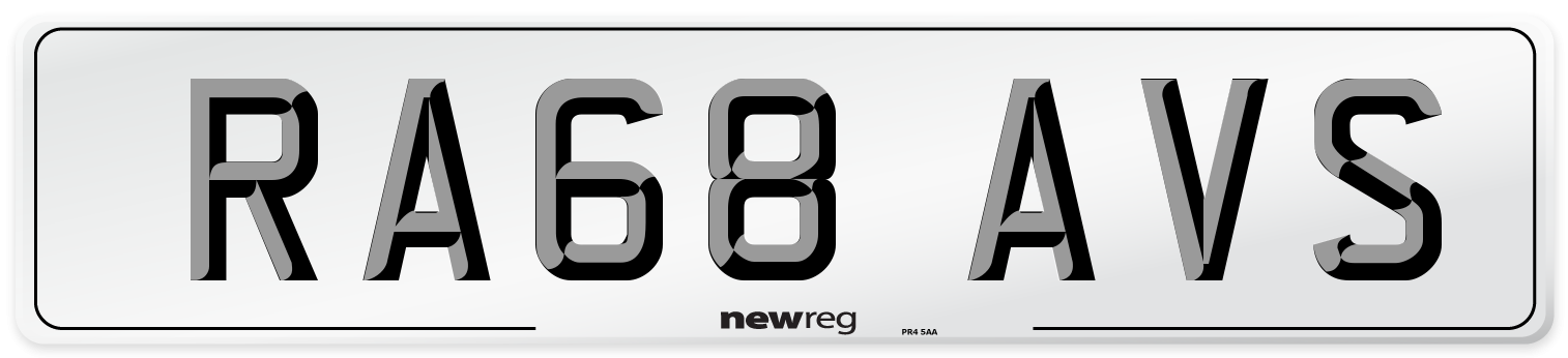 RA68 AVS Number Plate from New Reg