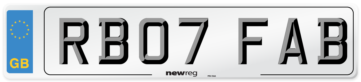 RB07 FAB Number Plate from New Reg