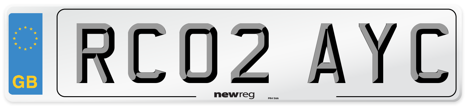 RC02 AYC Number Plate from New Reg