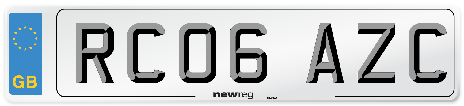 RC06 AZC Number Plate from New Reg