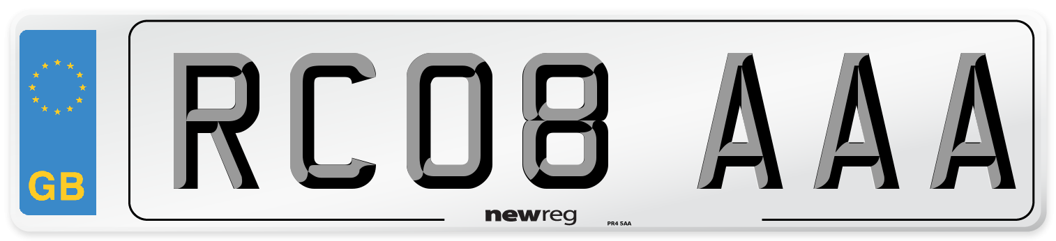 RC08 AAA Number Plate from New Reg