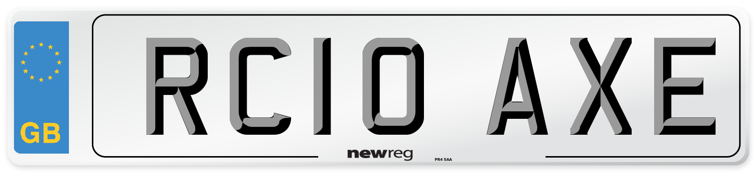 RC10 AXE Number Plate from New Reg