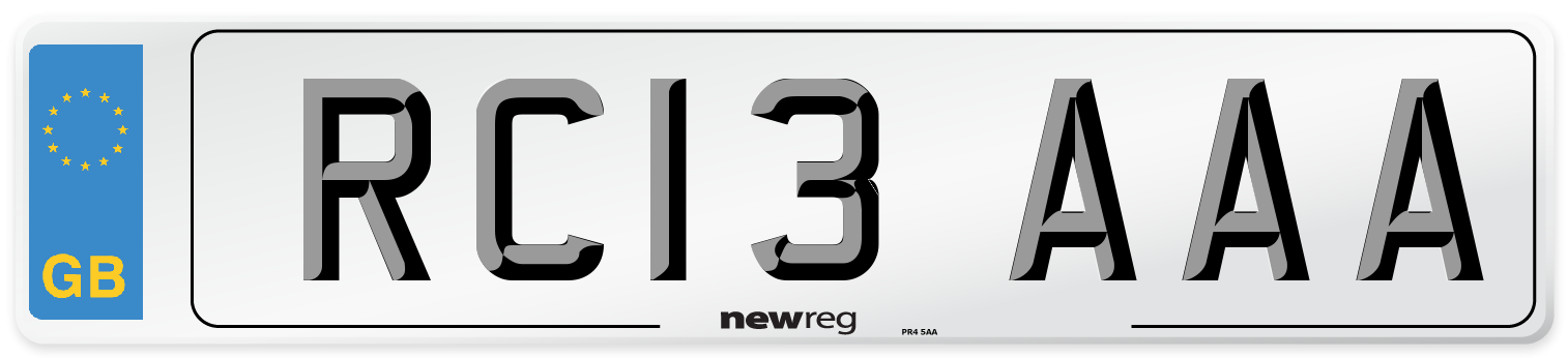 RC13 AAA Number Plate from New Reg