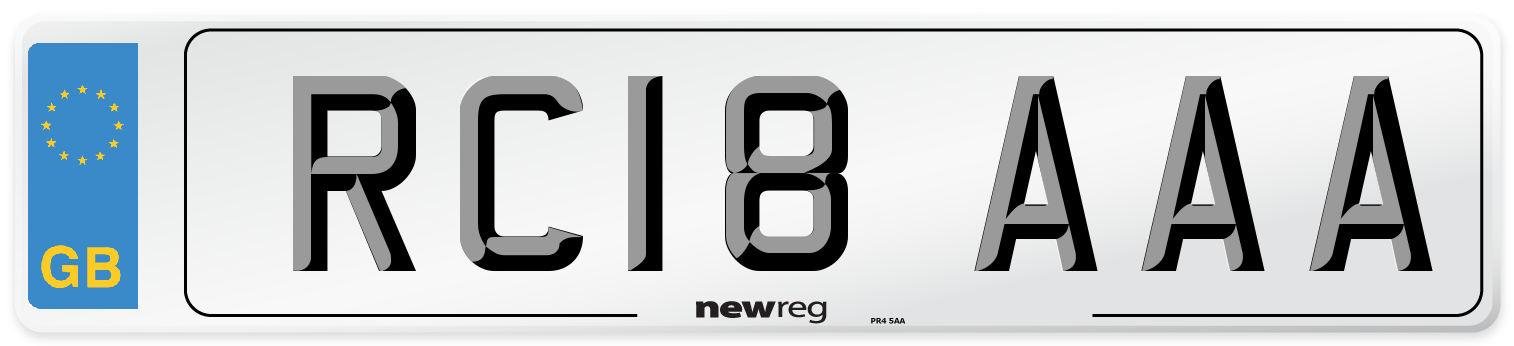 RC18 AAA Number Plate from New Reg