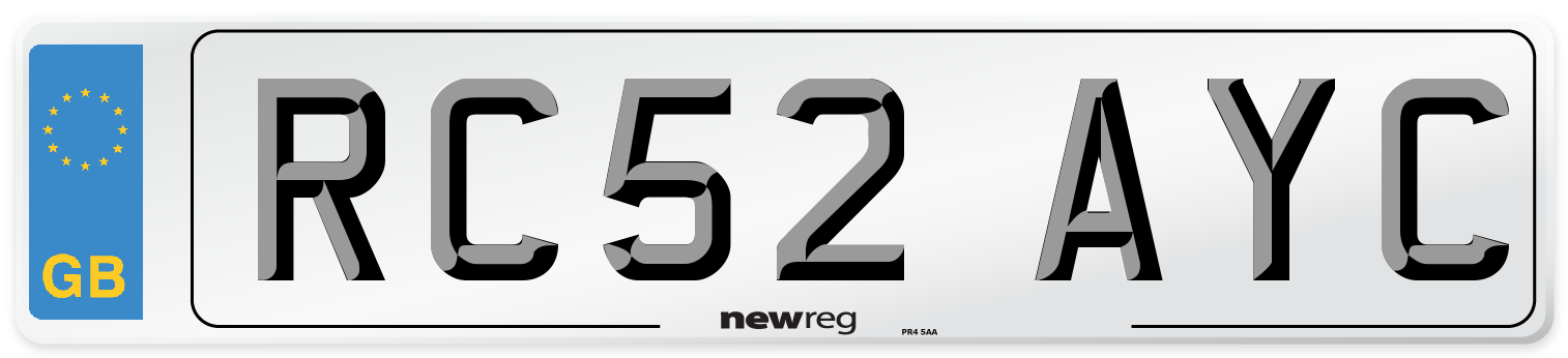 RC52 AYC Number Plate from New Reg