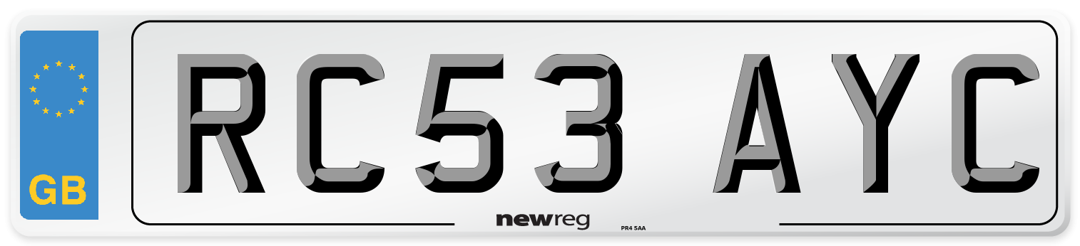 RC53 AYC Number Plate from New Reg