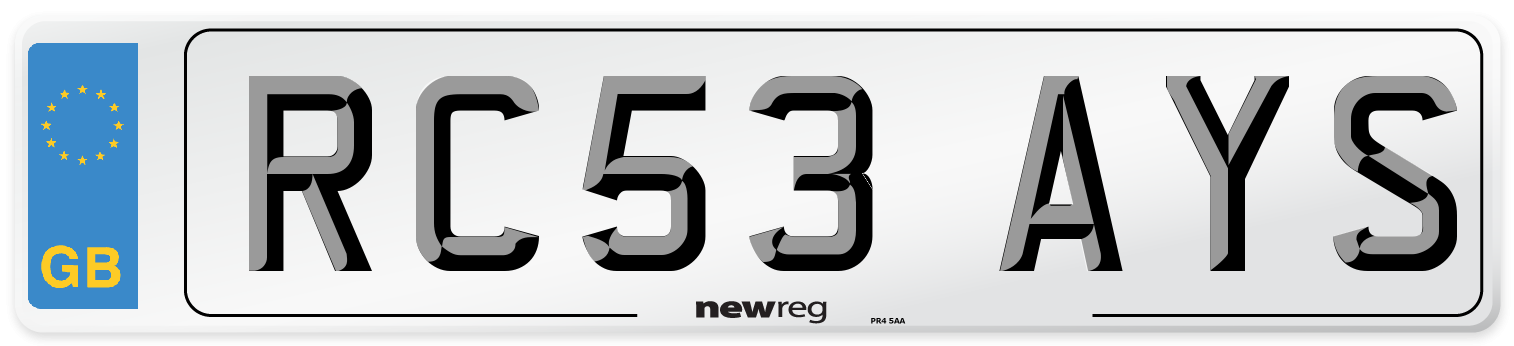 RC53 AYS Number Plate from New Reg