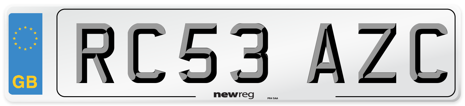 RC53 AZC Number Plate from New Reg