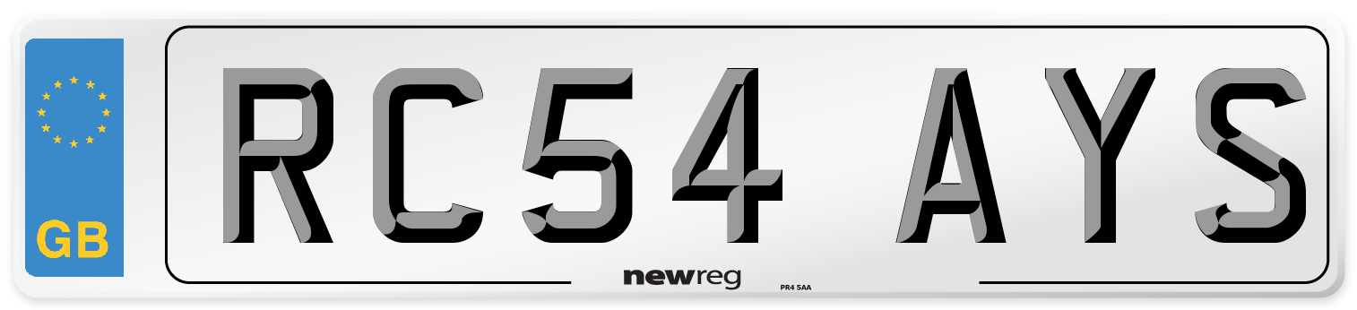 RC54 AYS Number Plate from New Reg
