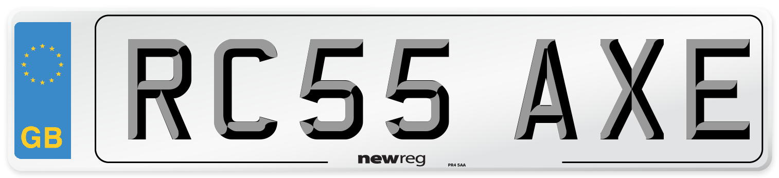 RC55 AXE Number Plate from New Reg
