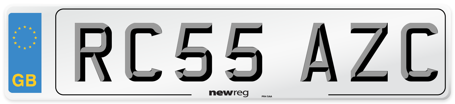 RC55 AZC Number Plate from New Reg