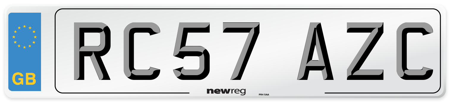 RC57 AZC Number Plate from New Reg