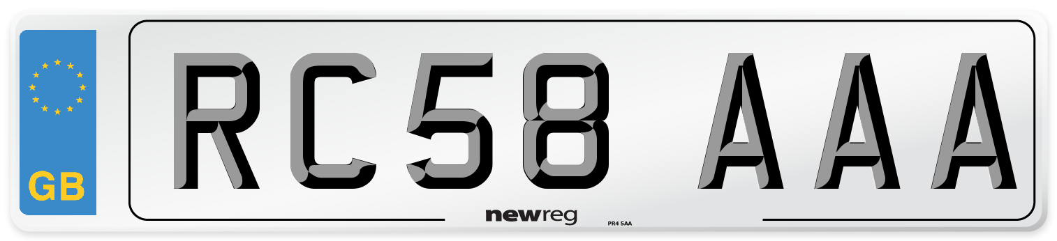 RC58 AAA Number Plate from New Reg