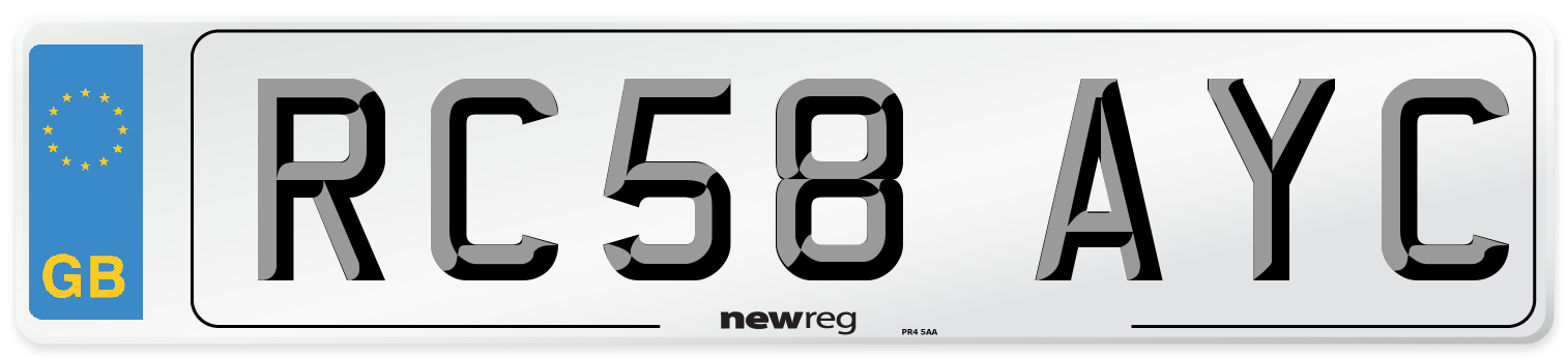RC58 AYC Number Plate from New Reg