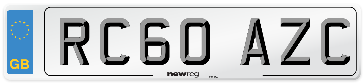 RC60 AZC Number Plate from New Reg