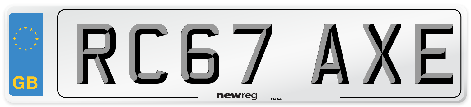 RC67 AXE Number Plate from New Reg