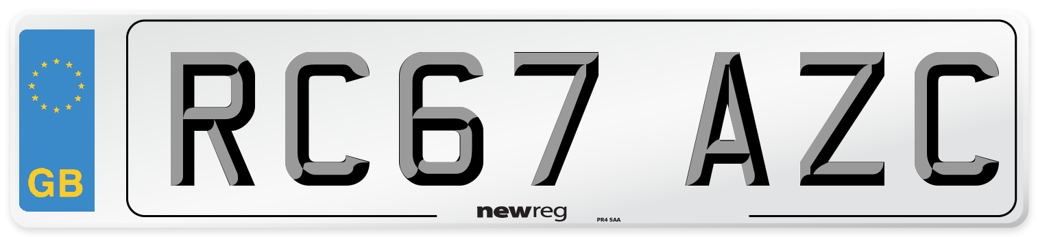 RC67 AZC Number Plate from New Reg
