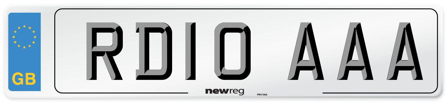 RD10 AAA Number Plate from New Reg