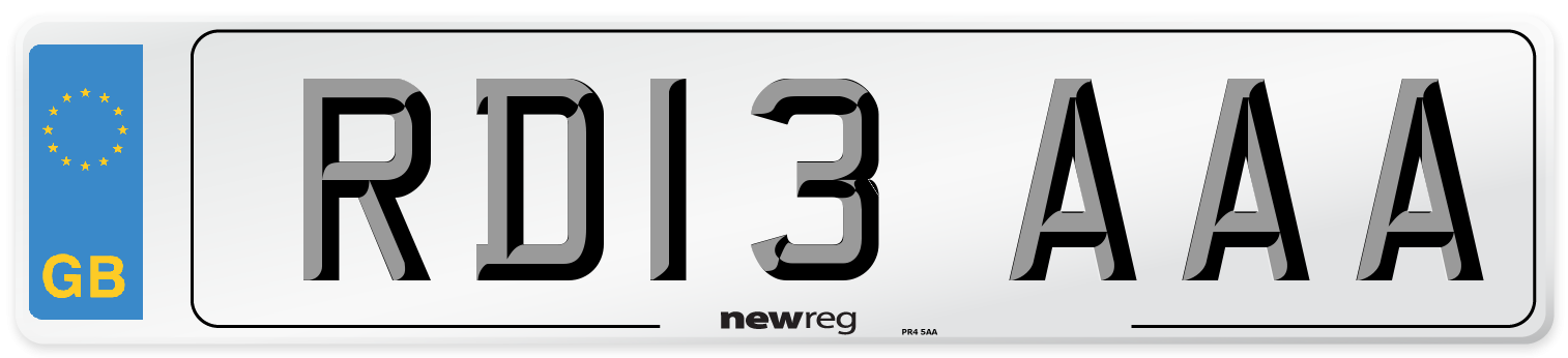 RD13 AAA Number Plate from New Reg