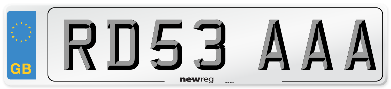 RD53 AAA Number Plate from New Reg