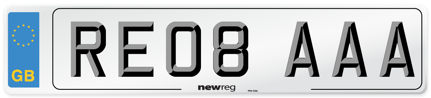 RE08 AAA Number Plate from New Reg