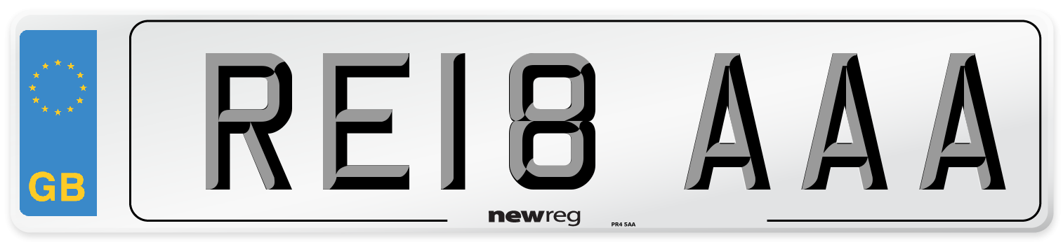 RE18 AAA Number Plate from New Reg