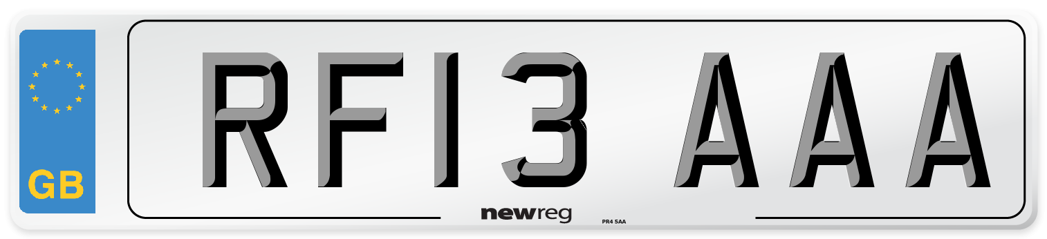 RF13 AAA Number Plate from New Reg