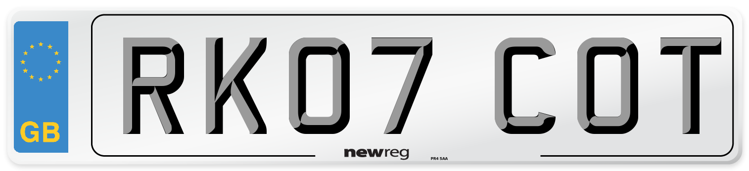 RK07 COT Number Plate from New Reg