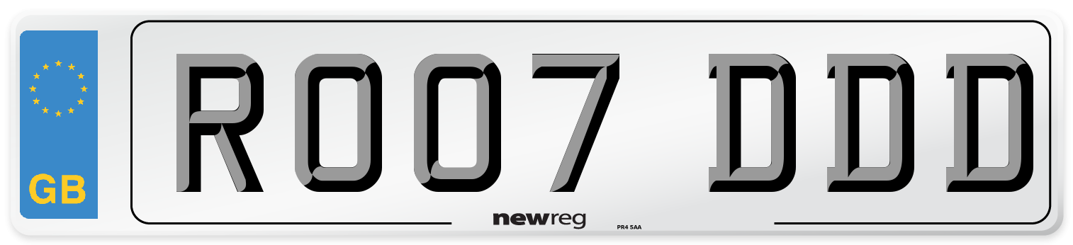 RO07 DDD Number Plate from New Reg